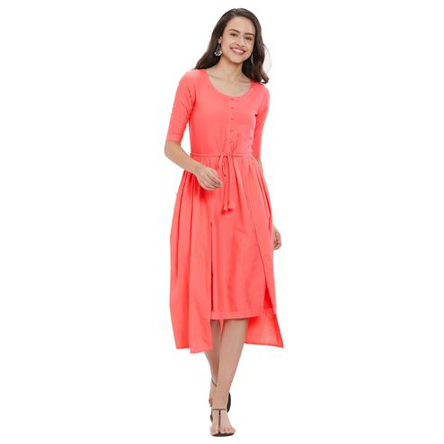 Dazzling Peach Colored Party Wear Cotton Kurti