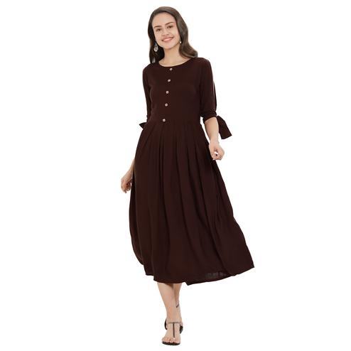 Surpassing Dark Brown Colored Party Wear Rayon Kurti