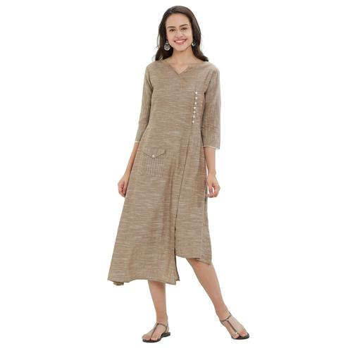 Intricate Beige Colored Casual Wear Pocket Style Cotton Kurti