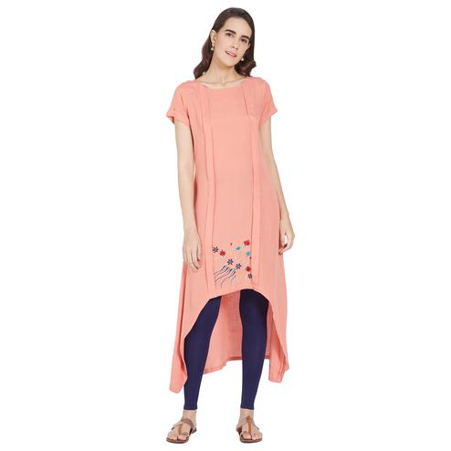 Arresting Peach Colored Casual Wear High-Low Linen Kurti
