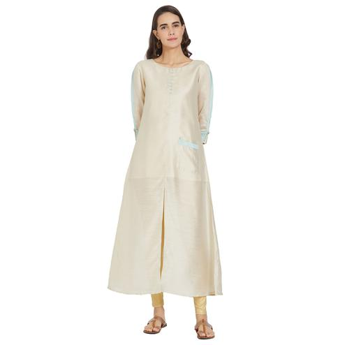 Desirable Cream Colored Casual Wear Pocket Style Silk Kurti