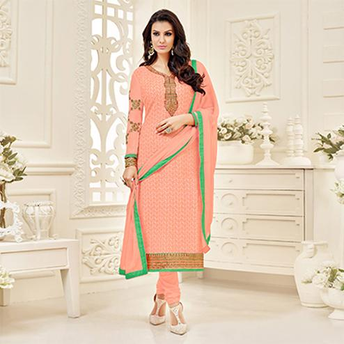 Peach Embroidered Work Georgette Suit