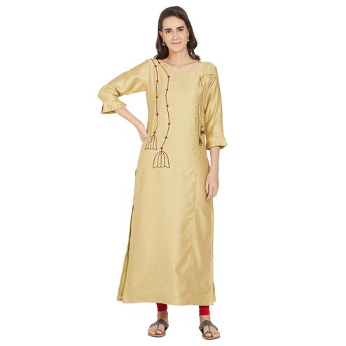 Exotic Beige Colored Casual Wear Embroidered Polyester Kurti