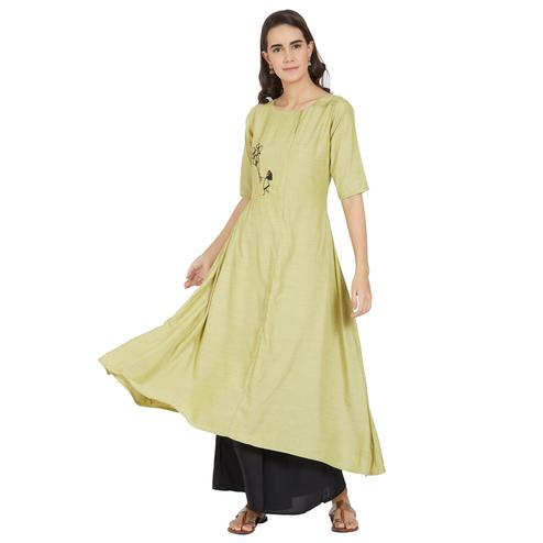 Sophisticated Pastel Green Colored Casual Wear Cotton Kurti