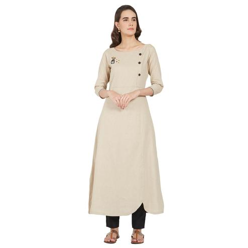 Trendy Beige Colored Casual Wear Cotton Kurti