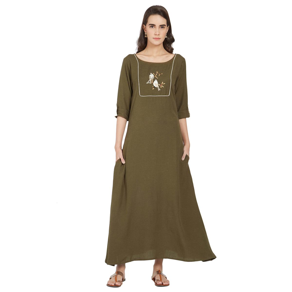 Elegant Olive Green Colored Casual Wear Linen Kurti