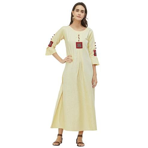 Radiant Light Yellow Colored Casual Wear Cotton Kurti