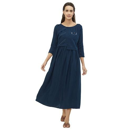 Pleasant Dark Blue Colored Casual Wear Pocket Style Cotton Kurti