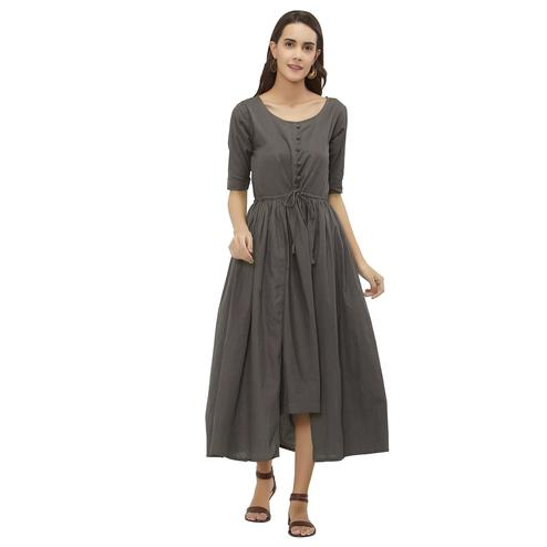 Opulent Grey Colored Casual Wear Cotton Kurti