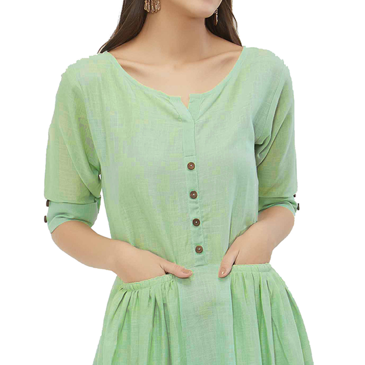 Exceptional Pista Green Colored Casual Wear Pocket Style Linen Kurti