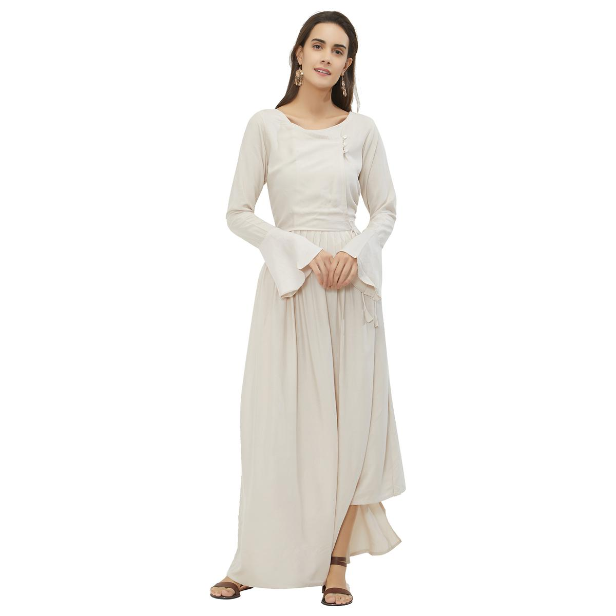 Gleaming Off White Colored Party Wear Rayon Kurti