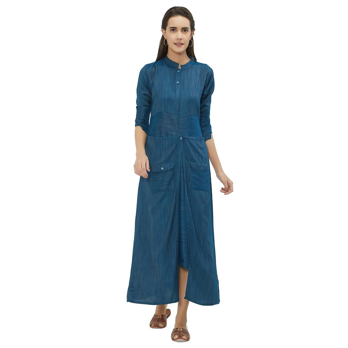 Mesmeric Blue Colored Party Wear Pocket Style Rayon Kurti