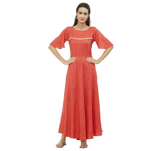 Unique Peach Colored Party Wear Rayon Kurti