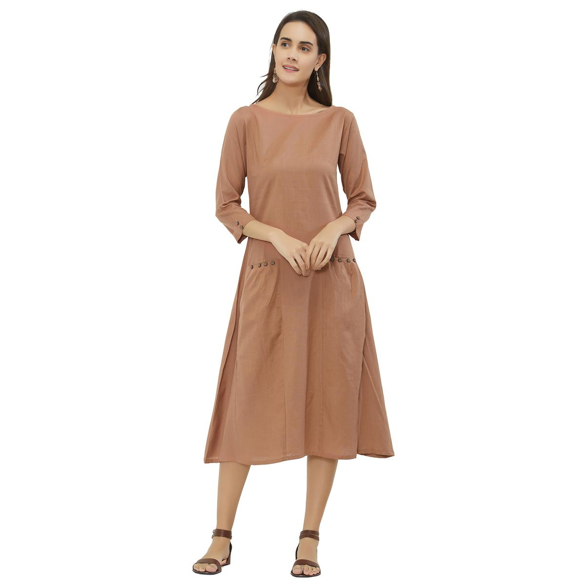 Demanding Brown Colored Casual Wear Pocket Style Cotton Kurti
