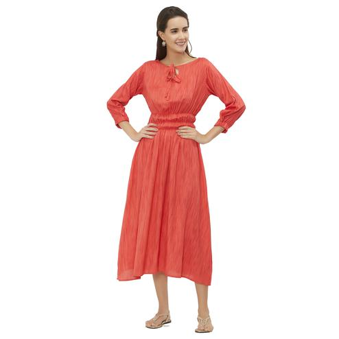 Magnetic Orange Colored Party Wear Rayon Kurti