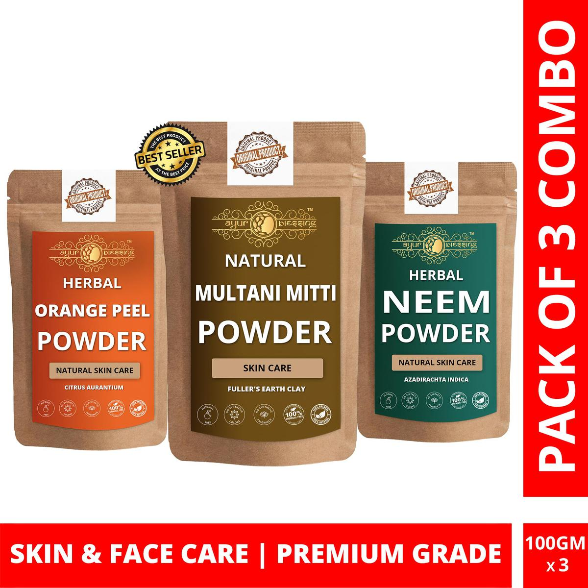 Multani Mitti, Orange Peel and Neem Powder By Ayur Blessing   Triple Combo   For Face Pack and Skin Care