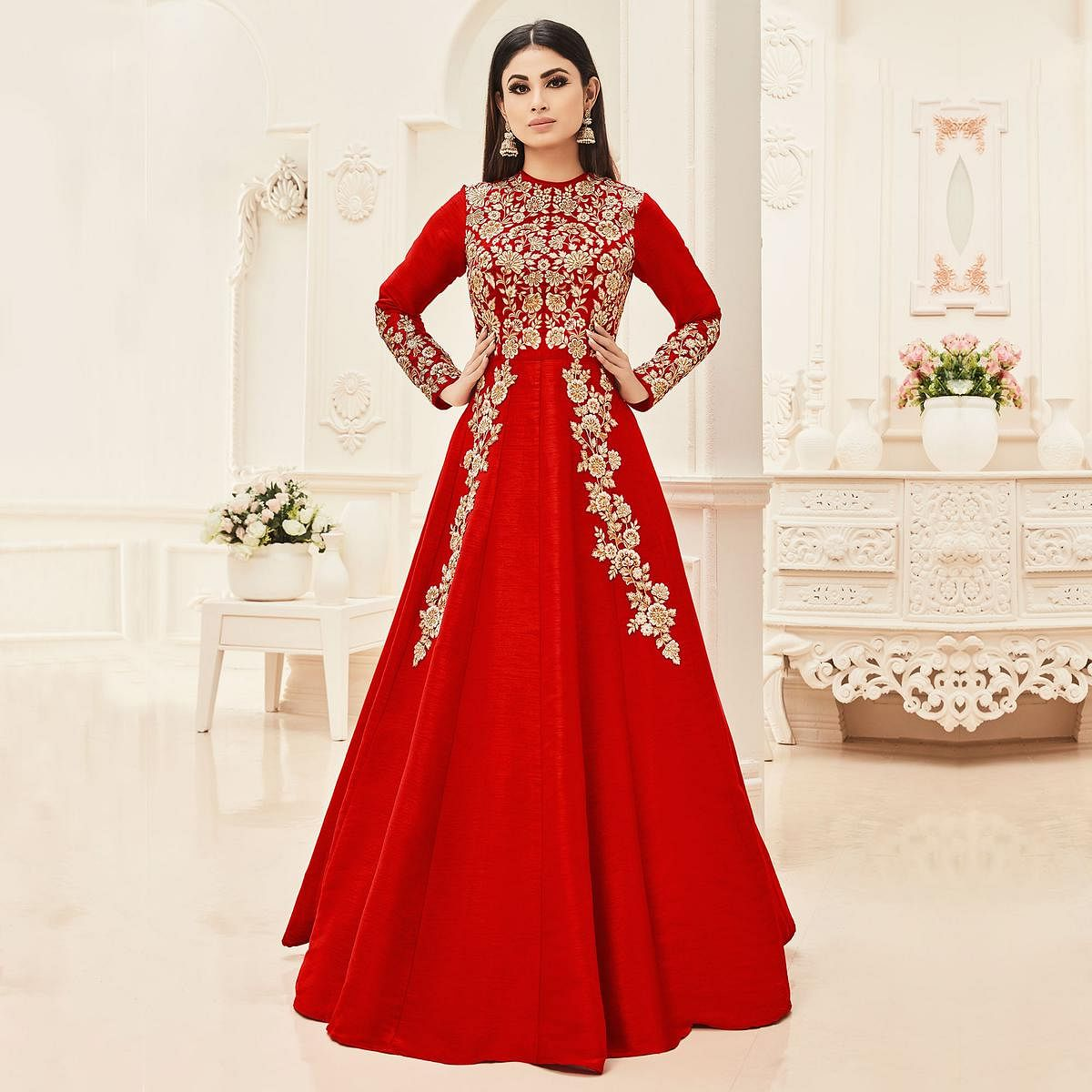Red Cotton Silk Floor Length Anarkali Suit