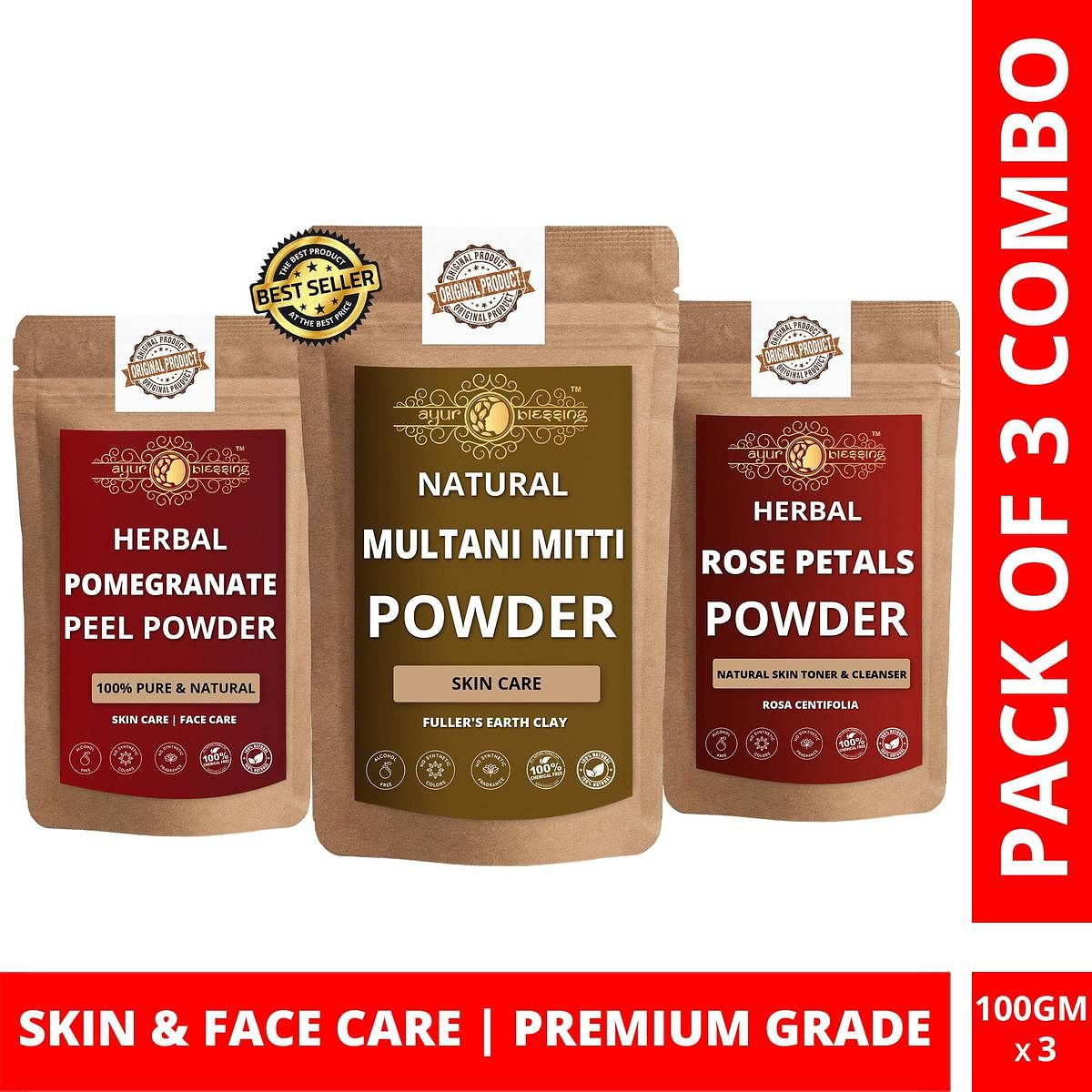 Multani Mitti, Pomegranate Peel and Rose Petals Powder By Ayur Blessing | Triple Combo | For Face Pack and Skin Care