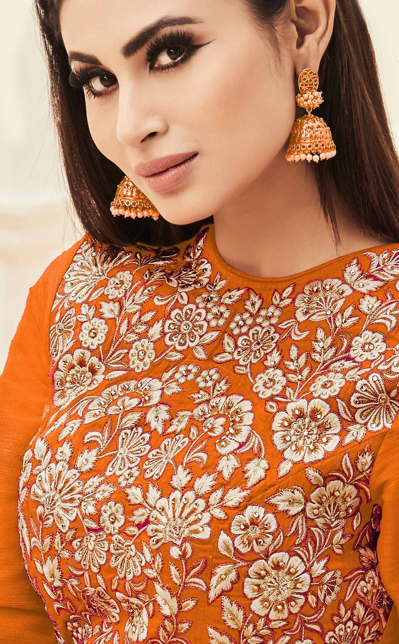 Orange Cotton Silk Floor Length Anarkali Suit