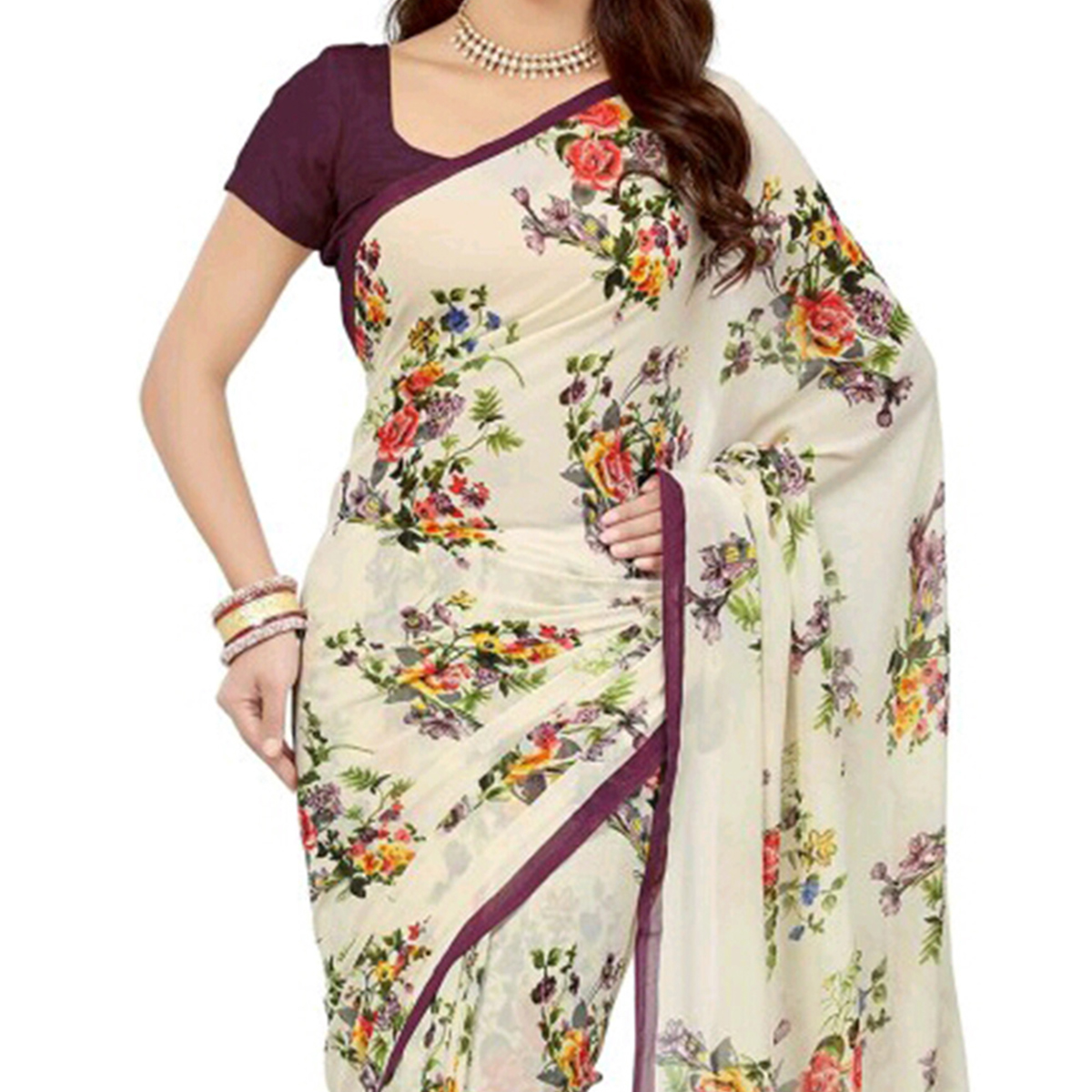 Cream Floral Print Work Saree