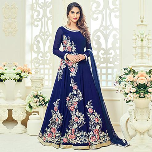Royal Blue Semi Georgette Anarkali Suit