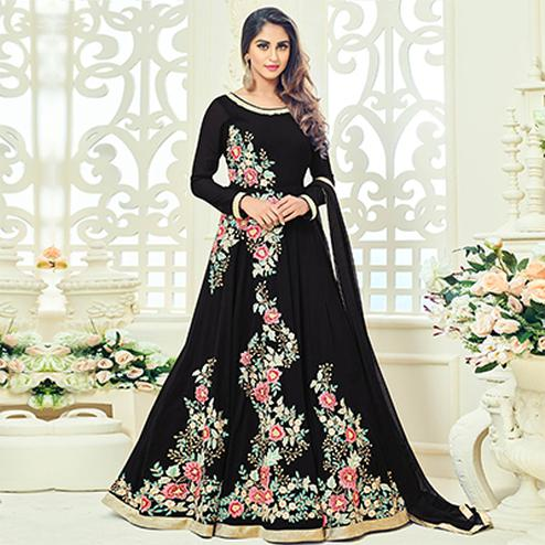 Black Semi Georgette Anarkali Suit