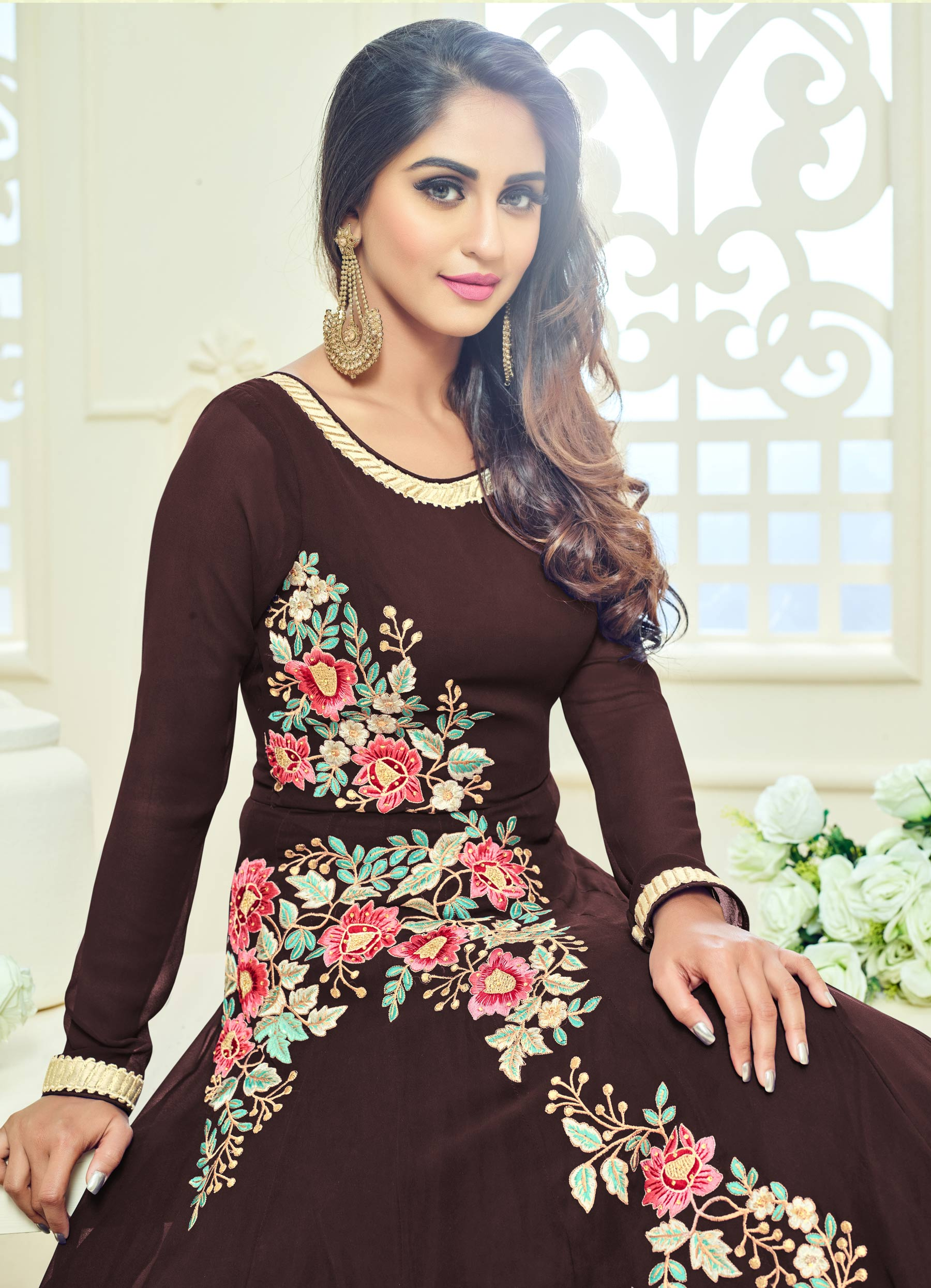 Brown Semi Georgette Anarkali Suit