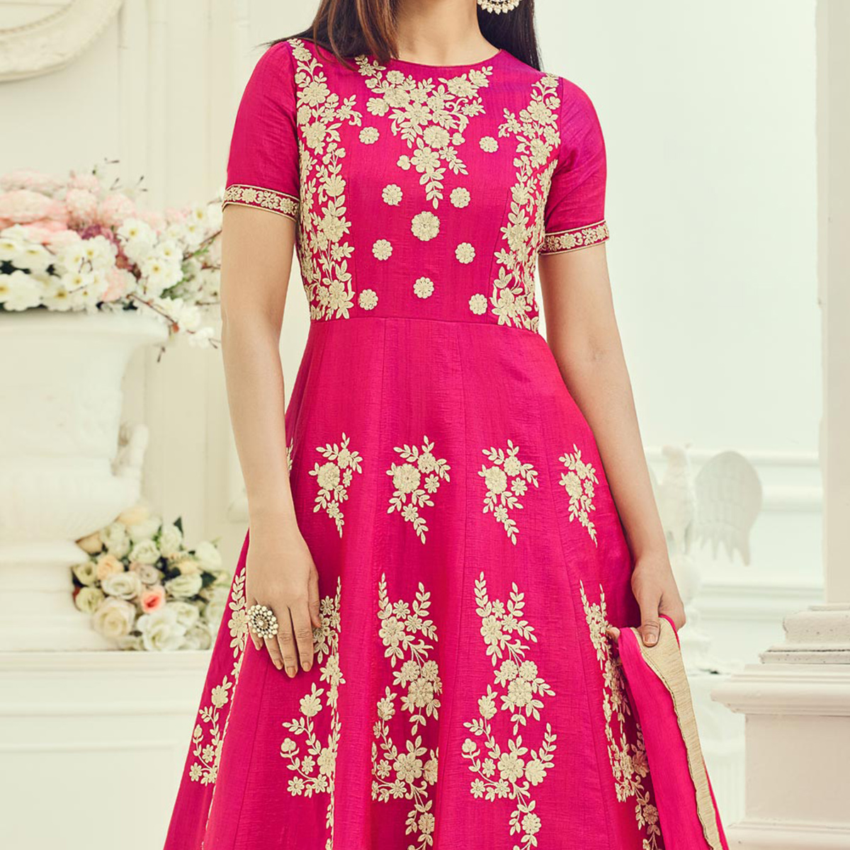 Pink Embroidered Work Cotton Silk Anarkali Suit