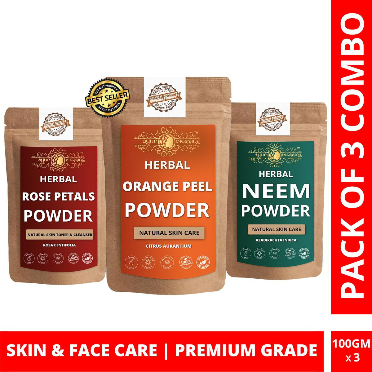 Orange Peel, Rose Petals and Neem Powder By Ayur Blessing | Triple Combo | For Face Pack and Skin Care