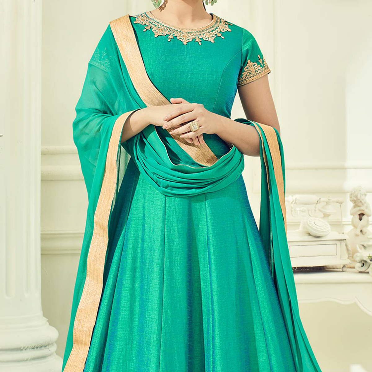 Green Cotton Silk Heavy Embroidered Anarkali Suit
