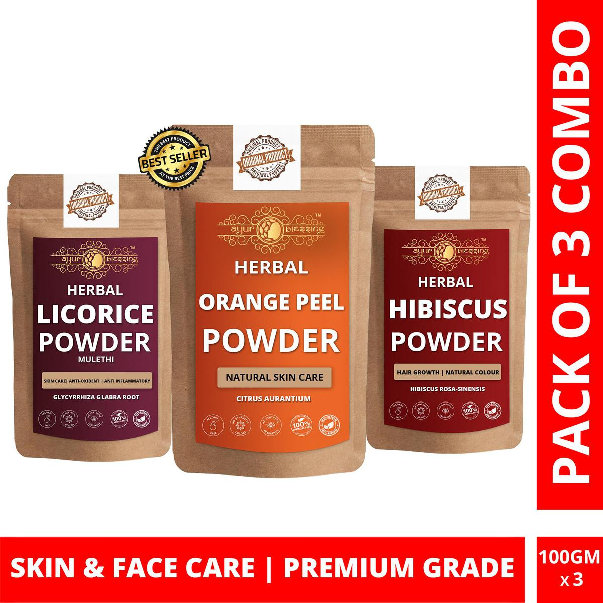 Orange Peel, Licorice and Hibiscus Powder By Ayur Blessing | Triple Combo | For Face Pack and Skin Care