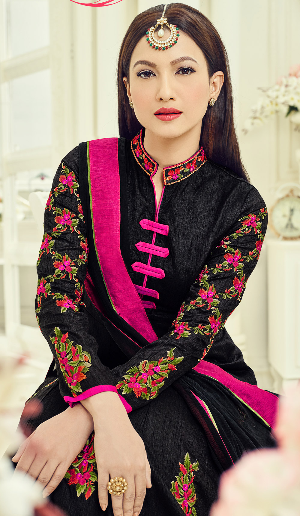 Black Banglori Silk Anarkali Suit