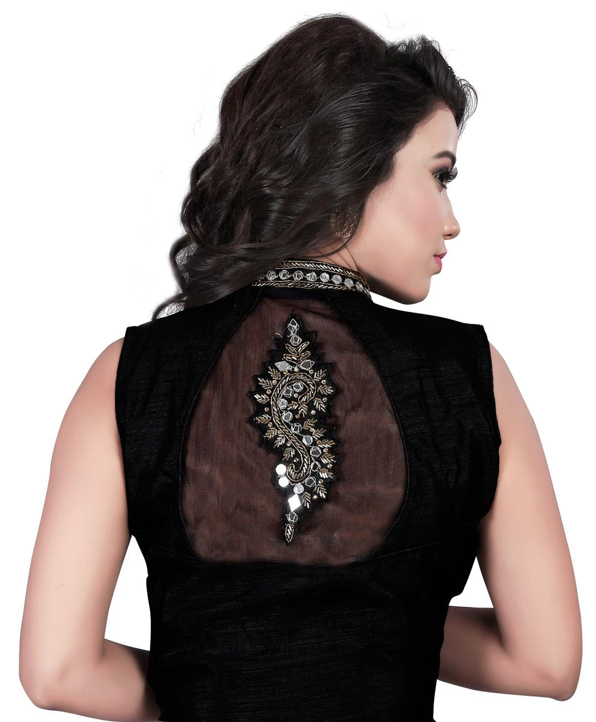 Black Banglori Silk Collar Neck Saree Blouse