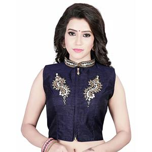 Blue Banglori Silk Collar Neck Saree Blouse