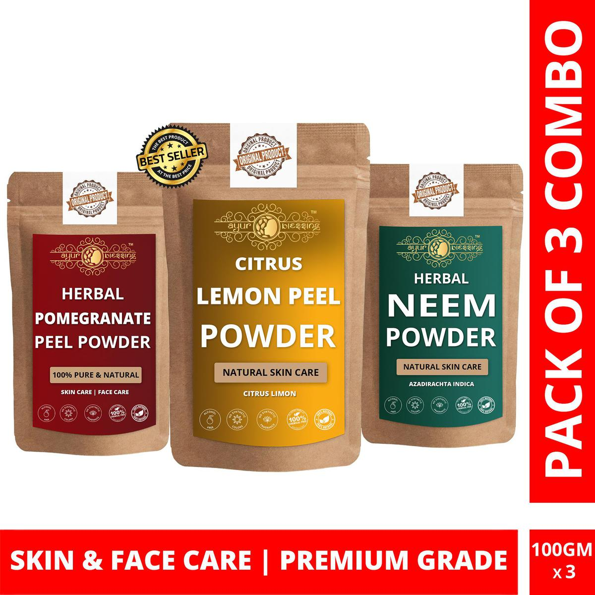 Lemon Peel, Pomegranate Peel and Neem Powder By Ayur Blessing   Triple Combo   For Face Pack and Skin Care