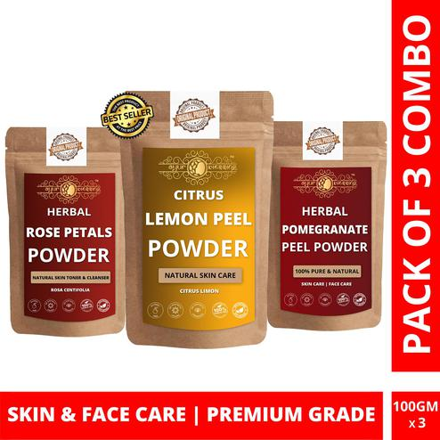 Lemon Peel, Rose Petals and Pomegranate Peel Powder By Ayur Blessing | Triple Combo | For Face Pack and Skin Care