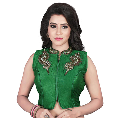 Green Embroidered Work Banglori Silk Blouse