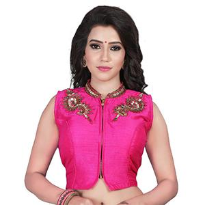 Pink Embroidered & Mirror Work Saree Blouse