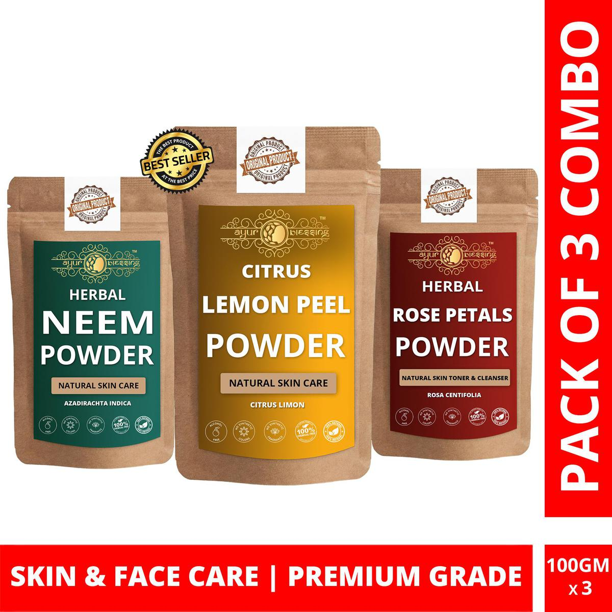 Lemon Peel, Neem and Rose Petals Powder By Ayur Blessing   Triple Combo   For Face Pack and Skin Care