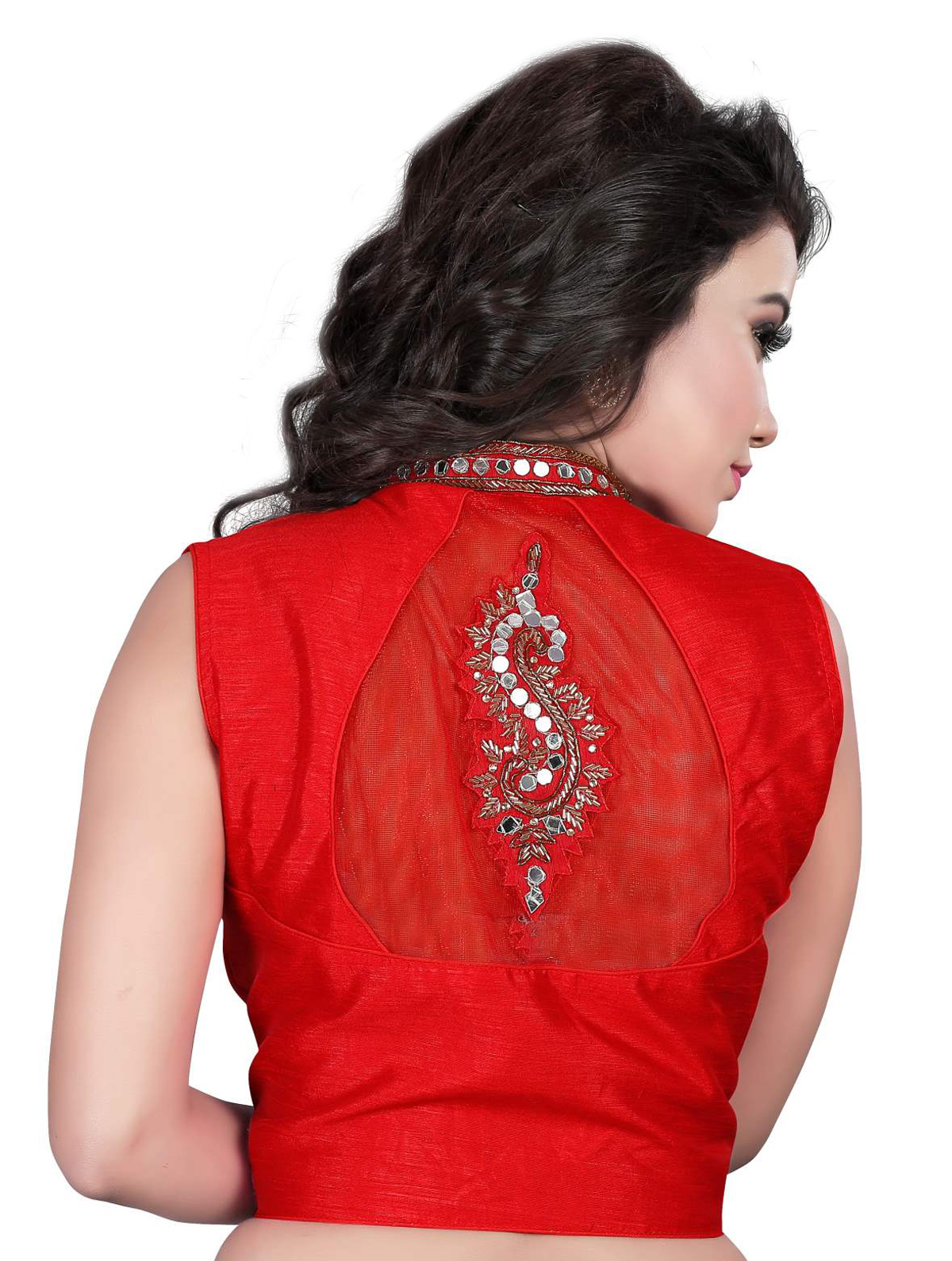 Red Embroidered & Mirror Work Saree Blouse