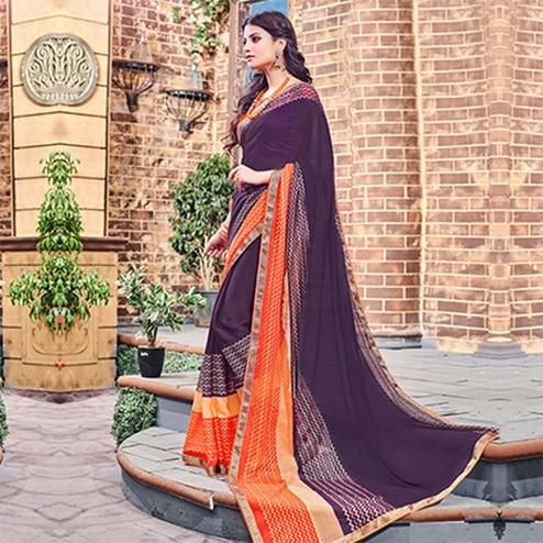 Purple - Orange Fancy Brasso Saree