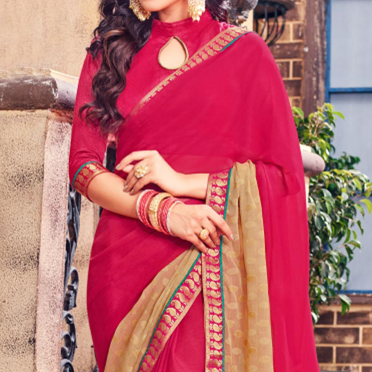Pink Fancy Brasso Fabric Printed Saree