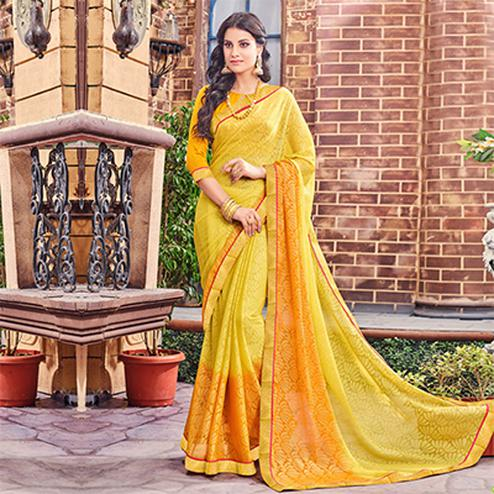 Yellow Fancy Brasso Printed Saree