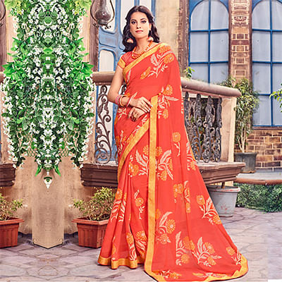 Orange Fancy Brasso Printed Saree