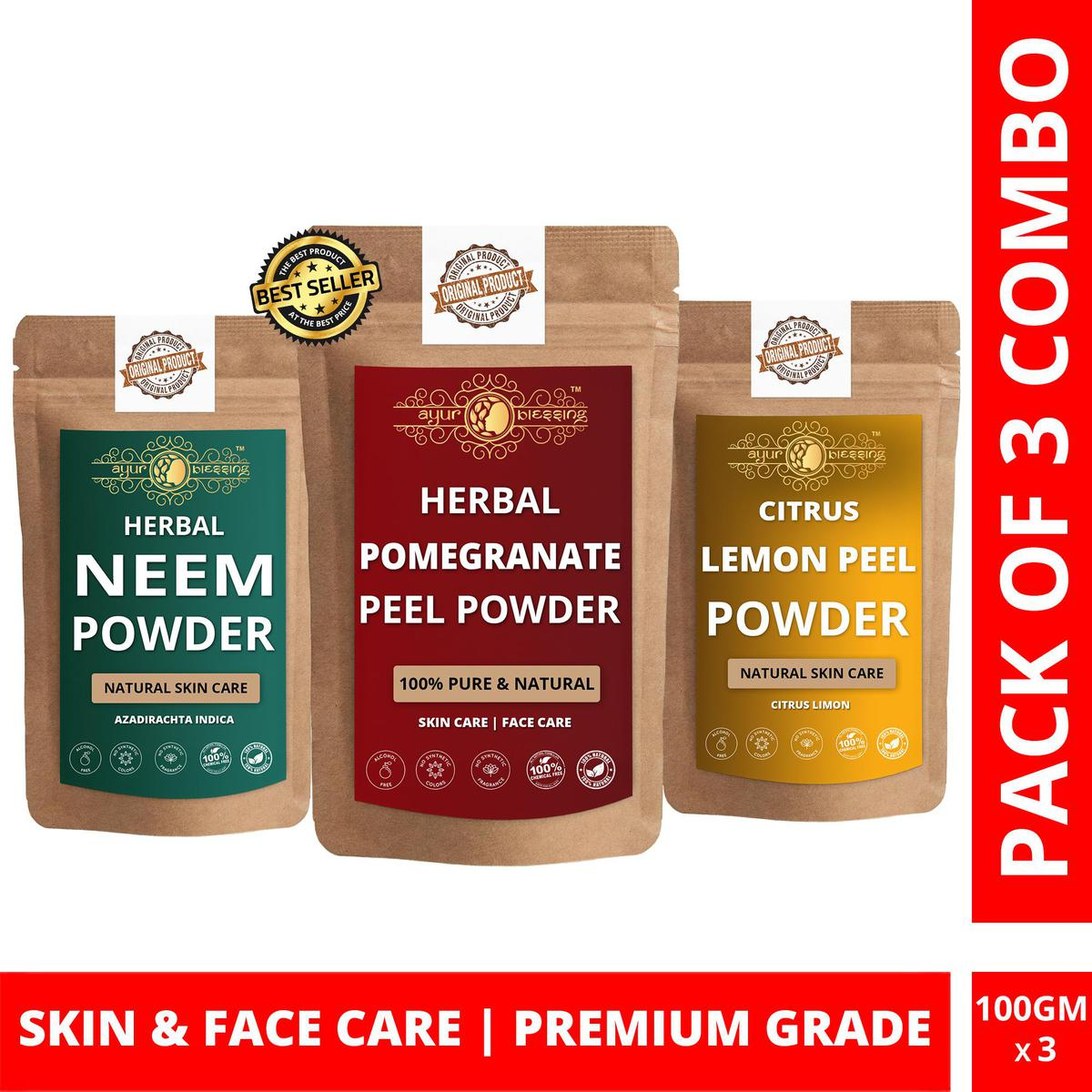 Pomegranate Peel, Neem and Lemon Peel Powder By Ayur Blessing | Triple Combo | For Face Pack and Skin Care