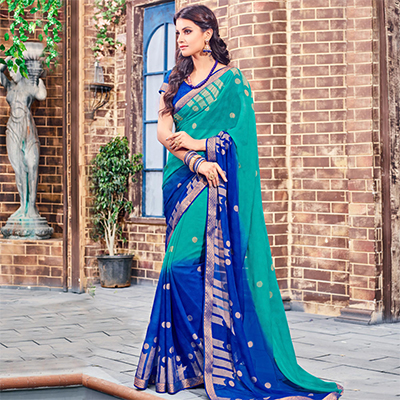 Green - Blue Brasso Saree with Print & Lace Work