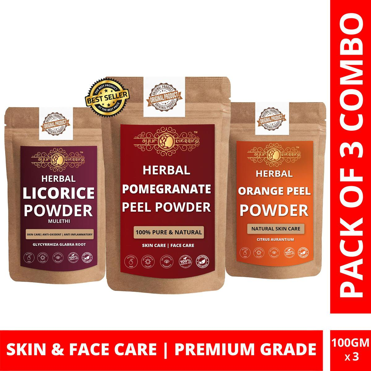 Pomegranate Peel, Licorice and Orange Peel Powder By Ayur Blessing | Triple Combo | For Face Pack and Skin Care