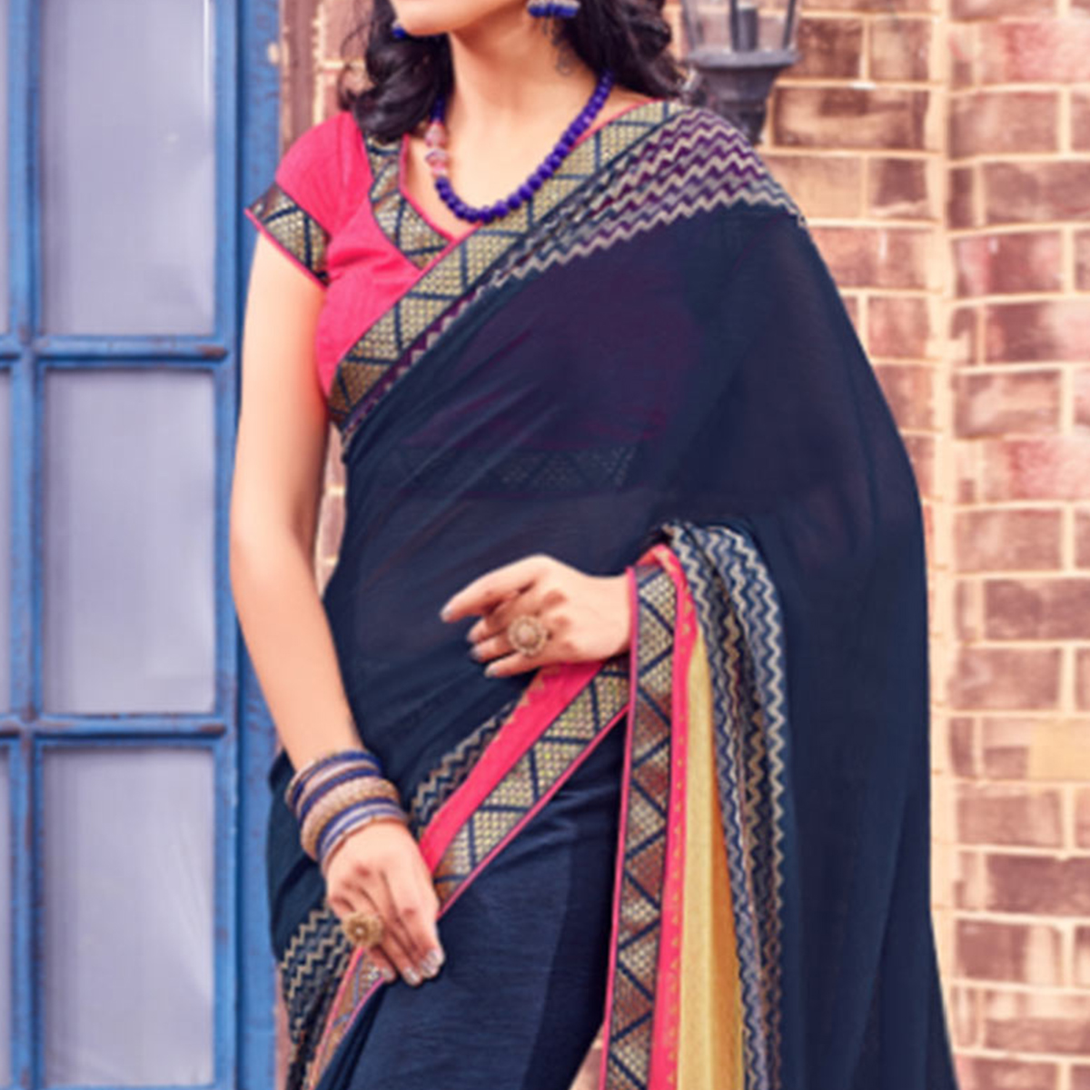 Navy Blue Brass Saree with Print & Lace Work