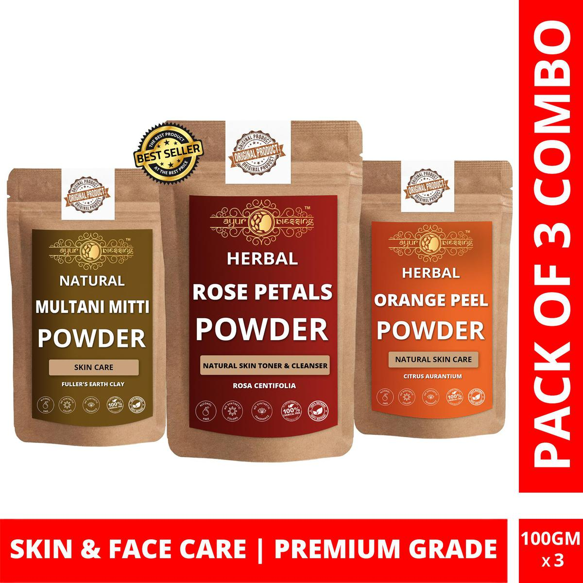 Rose Petals, Multani Mitti and Orange Peel Powder By Ayur Blessing   Triple Combo   For Face Pack and Skin Care