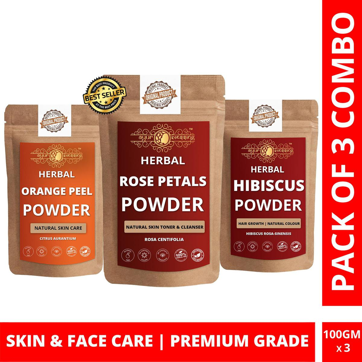Rose Petals, Orange Peel and Hibiscus Powder By Ayur Blessing   Triple Combo   For Face Pack and Skin Care
